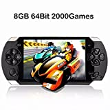 qiaoniuniu Handheld Game Console 8GB 64 Bit Portable Video Game Console 4.3 inch MP4 MP5 Players Built in 2000+classic games ebook/FM/3 MP Camera- Gifts for Boys Girls Kids Children