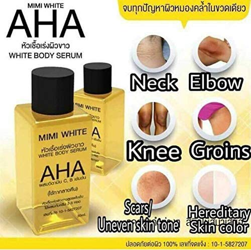 Serum AHA MIMI White Body Skin Lightening-Bleaching-Dark-Speed-White White Remove Dead Skin Cells OHO Clear Dark whiteing,Rough Skin Bikini,whitening with Collagen, size 30ml X 3 Unit