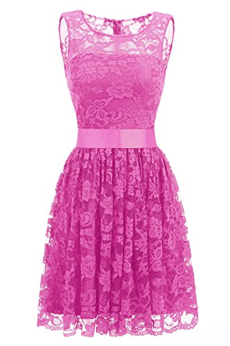 Kevins Bridal Women's Lace Short Homecoming Prom Dress 2017 Sleeveless Hot Pink Size 2
