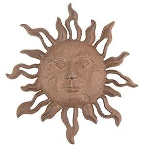 Cast Iron Bronze Celestial Sun Face Wall Decor Garden Plaque