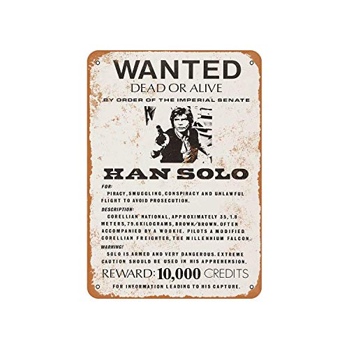 Fhdang Decor Vintage Pattern 1977 Han Solo Wanted Poster Vintage Look Aluminum Sign Metal Sign,12x18 Inches