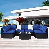 Patio Furniture Sofa Outside Couch PE Black Wicker 7pcs Garden Sectional Rattan Sofa Set Conversation Sets Party Sofa Royal Blue Cushion