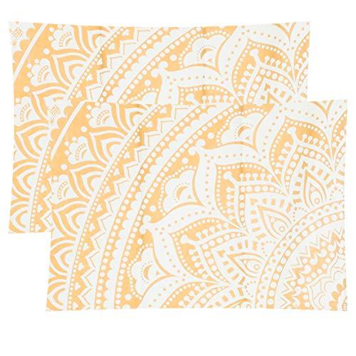 Organic Printed - Mandala Life ART Bohemian Decor Throw Decorative Pillow Cover -20x26 - Boho Mandala Pillowcase 100% Hand Printed Organic Cotton (Golden Lotus)