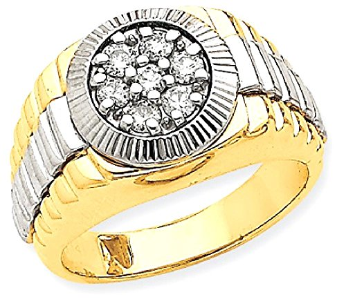 ICE CARATS 14k Two Tone Yellow Gold Diamond Mens Band Ring Size 10.00 Man Fine Jewelry Dad Mens Gift (Designer Two Tone Diamond Band)