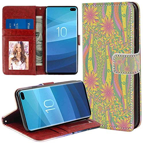 Leather Case Fits for Samsung Galaxy S10+ (2019) Pastel Algae Sea Motif Curved Doodling Mehndi Design Vibrant Colors Ethnic Nature Ornament Multicolor Pattern Leather Case