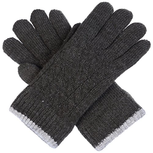 Double Cuff Gloves (BYOS Women Winter Classic Cable Ultra Warm Soft Plush Faux Fur Fleece Lined Knit Gloves (Charcoal Gray Cable Contrast Cuff))