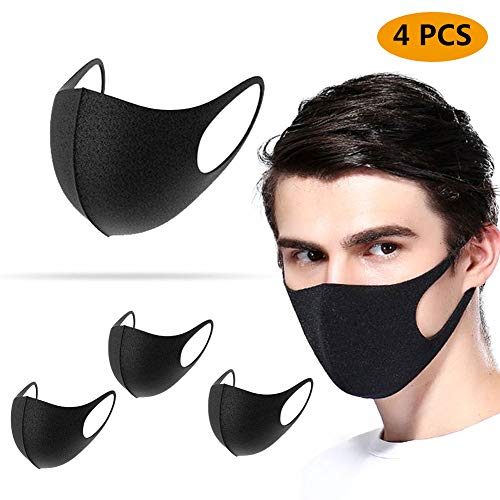 Yoruii Unisex Face Mask Dust Mask Anti Pollution Mask Reusable Mouth Masks for Cycling Camping Travel black 4 pcs