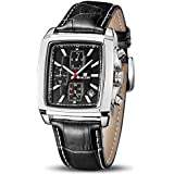 MEGIR Men's Analogue Army Military Chronograph Luminous Rectangle Quartz Watch with Stylish Leather Strap for Sport & Business Work ML2028GBK-1