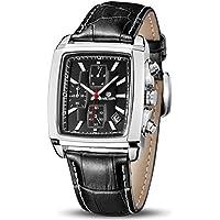 MEGIR Men's Analogue Military Chronograph Luminous Rectangular Quartz Watch with Durable Black Leather Strap for Sport & Business Work ML2028GBK-1