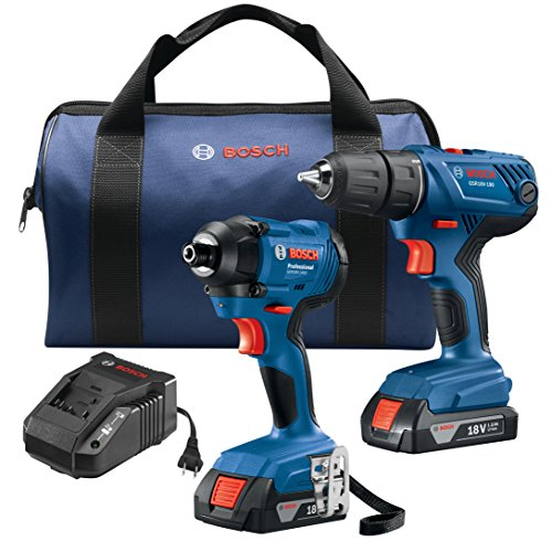 - Bosch GXL18V-26B22 18V 2-Tool Combo Kit with 1/2 In. Compact Drill/Driver and 1/4 In. Hex Impact Driver