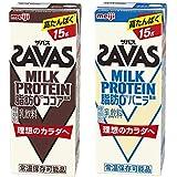 (ザバス)MILK PROTEIN(ミルクプロテイン)脂肪0 200ml ココア・バニラ 2種 各1ケース(計48本)セット