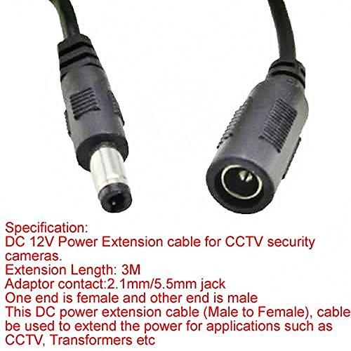 3M DC 5.5 2.1mm Macho a Hembra Cable de extensión para cámaras de Seguridad CCTV tianxiaw