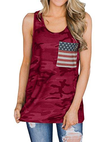 (Sibylla Women's Casual Sleeveless Star Print Racerback Tank Tops Fourth of July Vest Camisole Vest (Medium, Wine Red) )
