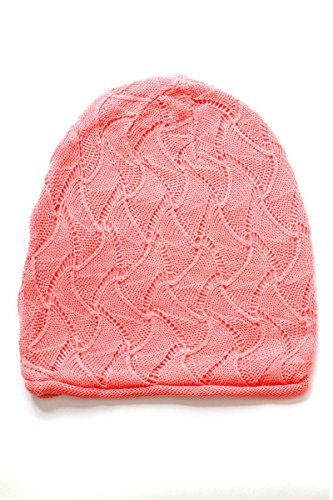AN Adult Slouchy Beanie Hat Open Weave Crochet Mesh Light Fashion Baggy Cap (Coral Geometric)