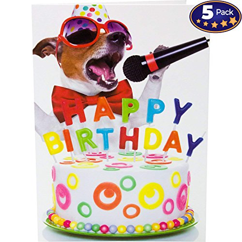 Beacon Streets Singing Dog Happy Birthday Cards, 5 Pack. This Pup Knows How to Get Down & Party! Premium Greeting Card & Envelopes Value Set. Great Funny Gift for Kids, Boys, Girls & Pet Lovers. (Birthday Card Singing)