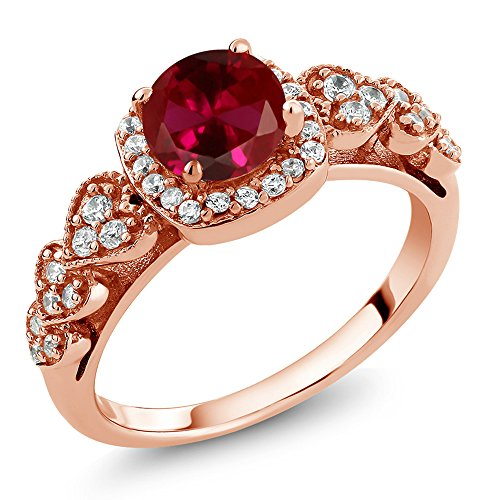 Gem Stone King 1.32 Ct Round Red Created Ruby 18K Rose Gold Plated Silver Women's Ring (Size 5)