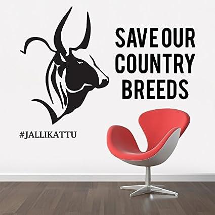 Stickme jallikattu bull tamil wall sticker sm 165 pvc vinyl