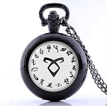 El Mortal Instrumentos ciudad de huesos collar vintage Angelic de alimentación runas Shadowhunters reloj de bolsillo colgante para hombres y mujeres: ...