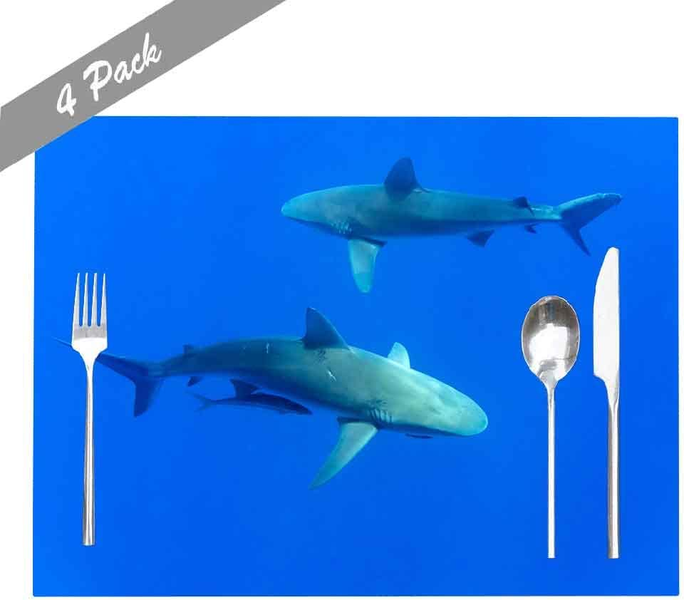 Shorping Placemats for Dining Table, Placemats for Kids Non Slip Washable Reusable Placemats Set of 4 18X12 Inch Indoor Outdoor Holiday Thanksgiving Christmas Placemat Sharks Hawaii Oahu