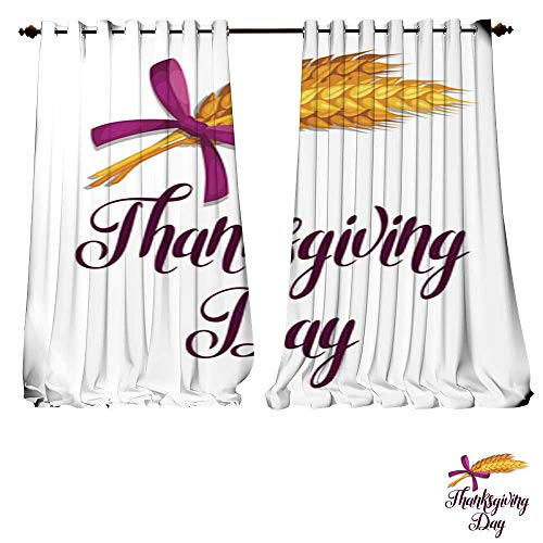 Light Wheat 4 Chandelier (DESPKON-HOME Room Darkening Wide Curtains Thanksgiving Day Greeting Card Background with Wheat Ears Thermal Insulated Room Darkening Window-W84 x L108/Pair)