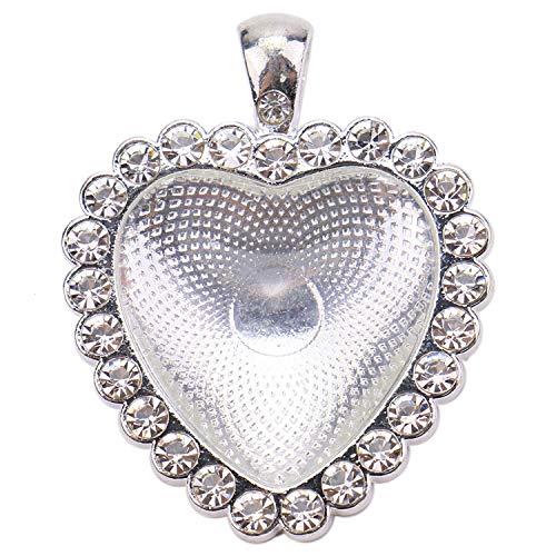 - JETEHO 6 Sets Rhinestone Heart Blank Bezel Pendant Trays Heart Pendant Trays Cabochon Setting for Jewelry Making
