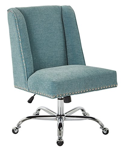 INSPIRED by Bassett Alyson Chrome Base Adjustable Managers Chair with Nailhead Accents, Sky (Bassett By Inspired Accent Chair)