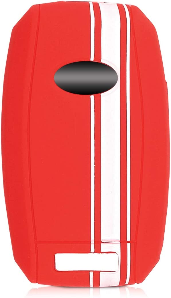 Rally Stripe White//Red kwmobile Car Key Cover Compatible with Kia 3-4 Button Car Key Silicone Protective Key Fob Cover
