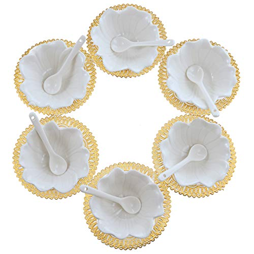 - 6PCS Small Porcelain Condiment Dishes with Spoons, Ceramic Ramekins, Dipping Cups, Snack Appetizer Serving Tray, Sauce Dish Plate, Dessert Ice Cream Bowls, White Flower Shaped + 6pcs Dish Holders