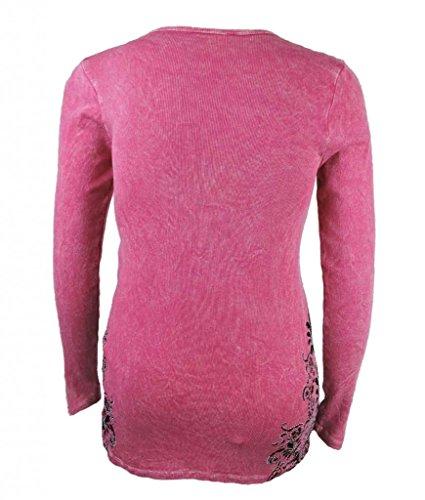 Vocal Women Plus Size Shirt Long Sleevs Tribal Fleur Tattoo Graphic Rhinestone Detail