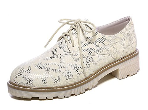 Women's Up Snakeskin Oxford Lace Shoes Comfy SHOWHOW Yellow BwdfSnqBx