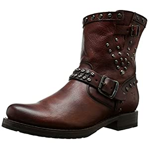 FRYE Women's Veronica Stud Moto Short Motorcycle Boot, Dark Brown, 5.5 M US