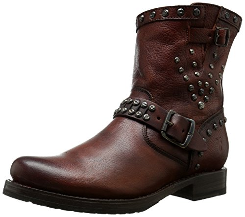 FRYE Women's Veronica Stud Moto Short Motorcycle Boot, Dark Brown, 6 M US