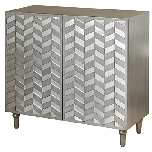 (Collective Design 720354123223 Transitional 2 Mirrored Door Fronts-Champagne Silver Credenza,)