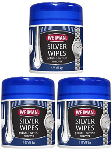 Weiman Silver Wipes for Cleaning and Polishing Silver Jewelry, Sterling Silver, Silver Plate and Fine Antique Silver - 4 Pack of 20 Count 4 Antique Silver Jewelry