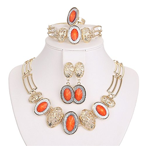 Moochi 18K Gold Plated Orange Beads Necklace Earrings Ring Bracelet Jewelry Set Show Wedding