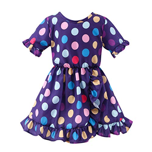 WOCACHI Toddler Baby Girls Dresses, Baby Kid Girls Ruffles Ruched Dot Skirt Princess Dresses Casual Clothes Back to School Easter Egg Costume Parade Bunny Lily Eggs Roll Basket Mother's Day ()