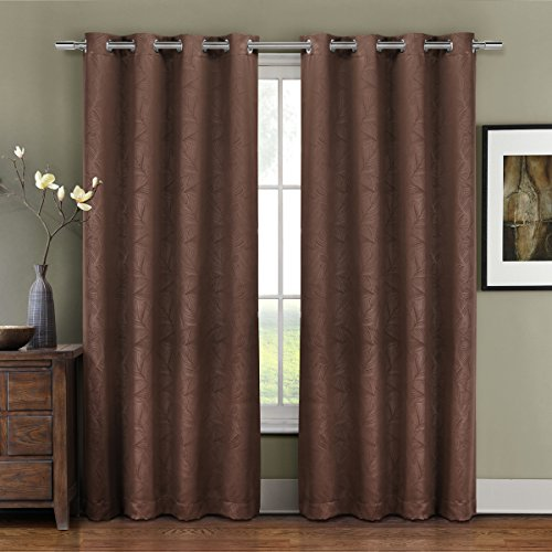 Pair of Two Top Grommet Blackout Weave Embossed Curtain Panels, Triple-Pass Foam Back Layer, Elegant and Contemporary Prairie Blackout Panels, Chocolate/Brown, 63″ Panels