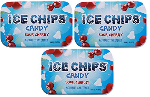 ICE CHIPS Xylitol Candy Tins (Sour Cherry, 3 Pack) - Includes BAND as shown