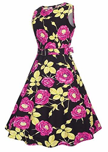 Abito da donna Vintage 1950 Floral Lemon Spring Garden Cocktail Party Dress Gold Leaf Rose