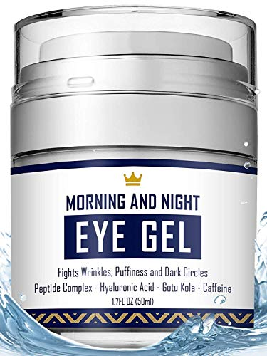 Eye Cream - Dark Circles & Under Eye Bags Treatment - Reduce Puffiness, Wrinkles - Effective Anti-Aging Eye Gel with Hyaluronic Acid, Gotu Kola Extract and Caffeine - Refreshing Serum (Best Wrinkle Treatment For Men)
