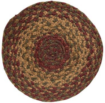Cinnamon Braided Jute Trivet Candle Mat Country Red Tan Brown Olive Green Primitive Home Décor