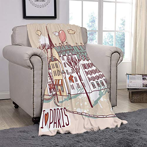 YOLIYANA Light Weight Fleece Throw Blanket/Paris,Illustration of Paris with Old City Buildings and Eiffel Urban Street Balloon,Cream Pink Green/for Couch Bed Sofa for Adults Teen Girls Boys