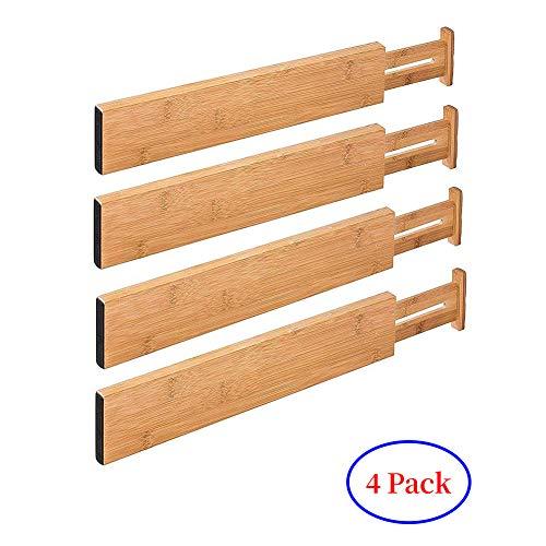G-LEAF 4 Set Drawer Dividers Bamboo Adjustable Kitchen Drawers Organizer ()