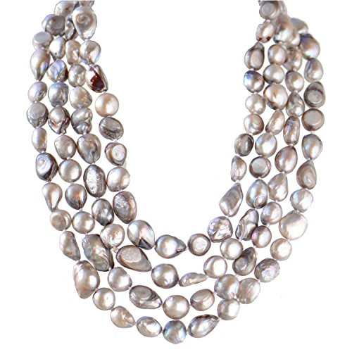 9-10mm Baroque Cultured Freshwater Pearl Necklace Strand Endless Palette Pure SILVER 60