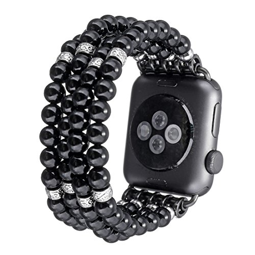 Crystal Series Mother Of Pearl (Tmore for Apple Watch Bands Fashion Resin Pearl Bracelets Unisex Handmade Strap Replace iWatch Band (Black,42mm))