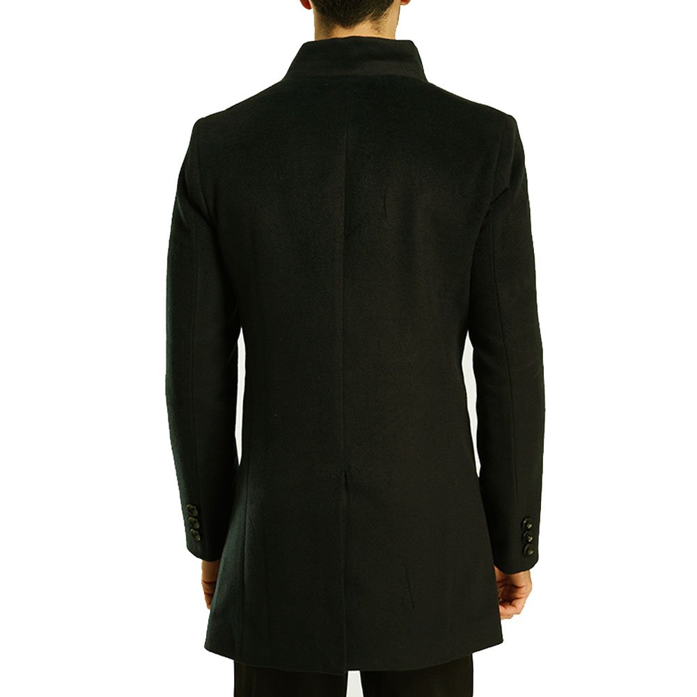 ROSEUNION Mens Casual Slim Fit Woolen Trench Coat Winter Long Jacket Single Breasted Overcoat