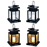 Hanging Solar Lanterns - ANDEFINE Outdoor LED Umbrella Lights Waterproof Candle Lamps Hang on Patio Umbrella Shepherd's Hooks Tree (Yellow Light, Pack of 4)