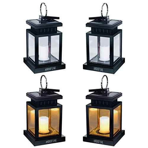Hanging Solar Lanterns - ANDEFINE Outdoor LED Umbrella Lights Waterproof Candle Lamps Hang on Patio Umbrella Shepherd's Hooks Tree (Yellow Light, Pack of 4) by ANDEFINE