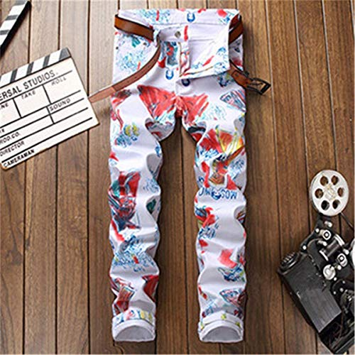 Graffiti Uomo Denim Casual Reransicht Stretch Fit Slim Stretti Semplice Jeans Fashion Pants Pantaloni Stile In Print Stampato Elastic Multi aWnC4wxB