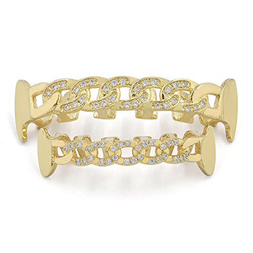 Iced Bling Hip Hop Grillz (JINAO Yellow Gold-Tone Iced Out Hip Hop Bling Open Face Cubic Zirconia (CZ) Cuban Link Vampire Fang Removable Grill Grillz Combo Set with Mold Bar (gold set))
